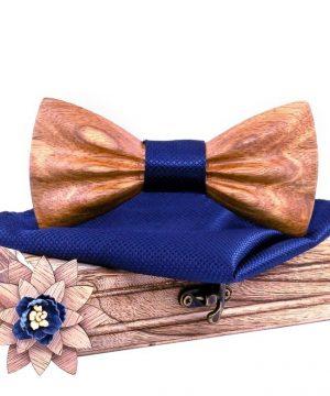 Motýlikový set z javorového dreva - drevený motýlik + brošňa + vreckovka