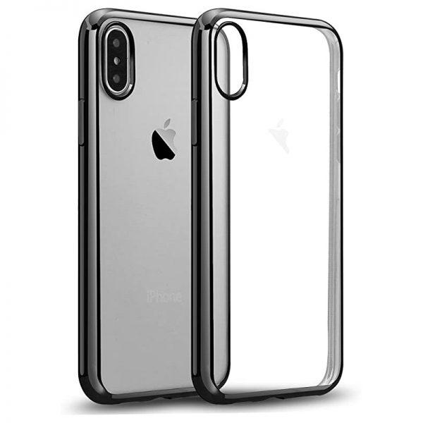 Ochranný silikónový štýlový obal na iPhone X v space gray farbe..