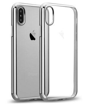 Ochranný silikónový štýlový obal pre iPhone X v striebornej farbe