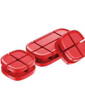 Silikónový držiak, klip na káble - sada 3 ks v červenej farbe
