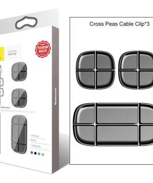 Silikónový držiak, klip na káble - sada 3 ks v čiernej farbe
