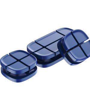 Silikónový držiak, klip na káble - sada 3 ks v modrej farbe
