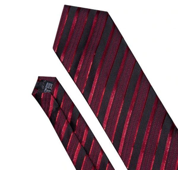 Kravatová sada - kravata + manžetové gombíky + vreckovka s červenými pásikmi