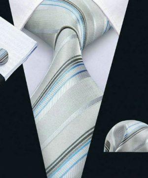Kravatová sada - kravata + manžety + vreckovka so sivo-modrým vzorom