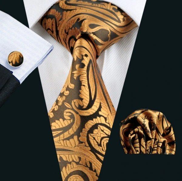 Kravatová sada - kravata + manžety + vreckovka so zlatým vzorom