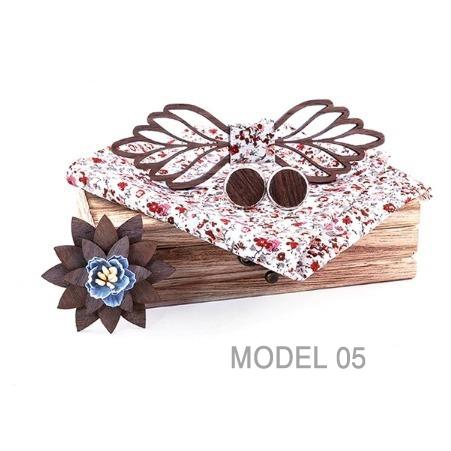 Vyrezávaný motýlikový set - drevený motýlik + brošňa + manžety + vreckovka