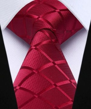 Spoločenská kravata a vreckovka - sada s červeným vzorom