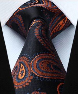 Spoločenská kravata a vreckovka - sada s čierno-pomarančovým vzorom