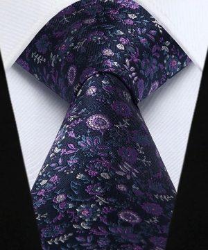 Spoločenská kravata a vreckovka - sada s modro-ružovými kvietkami