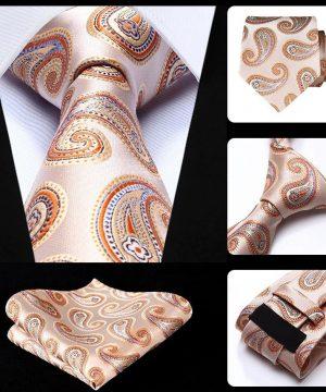Spoločenská kravata a vreckovka - sada s pomarančovým motívom