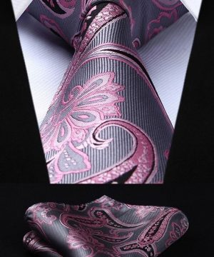 Spoločenská kravata a vreckovka - sada so sivo-ružovým vzorom