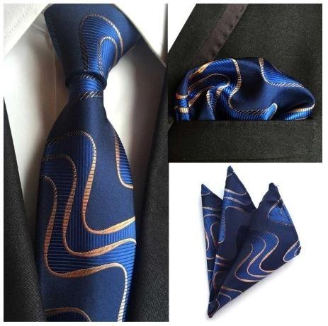Spoločenská kravata a vreckovka - sada so zlato-modrým vzorom