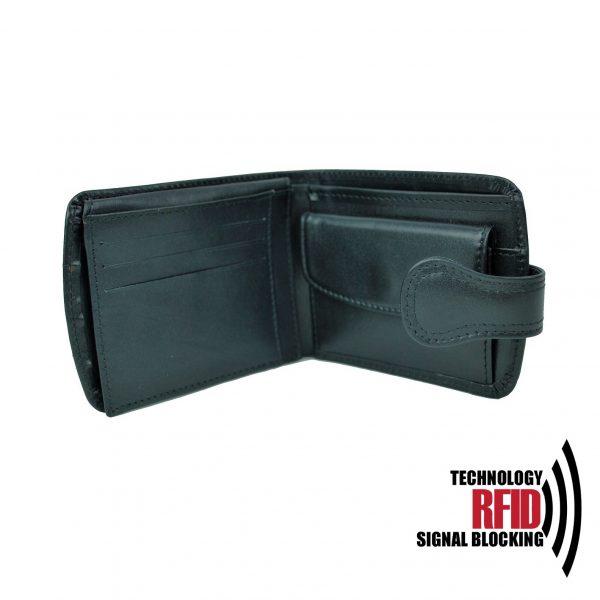 Kožená RFID peňaženka vybavená blokáciou RFID NFC, čierna farba č (3)