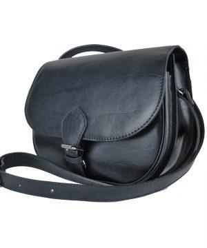 Luxusná lovecká kožená kabelka v čiernej farbe.