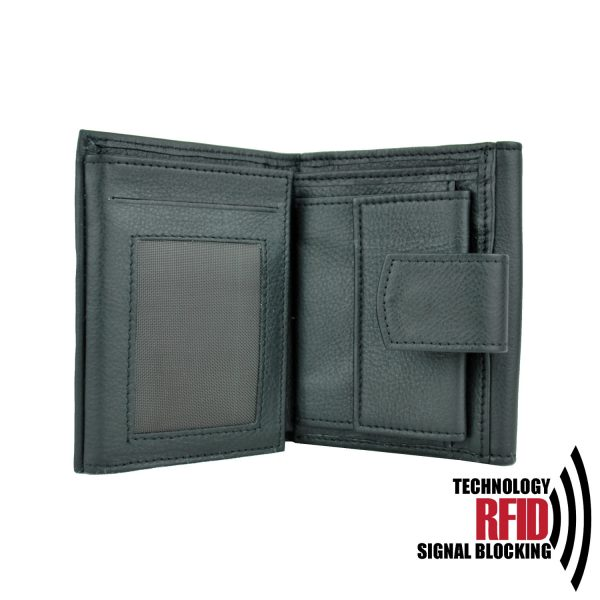 Ochranná kožená peňaženka v čiernej farbe č (3)