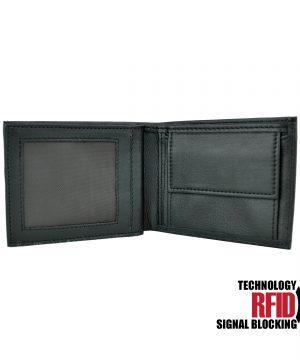 Ochranná pánska kožená peňaženka v čiernej farbe (2)