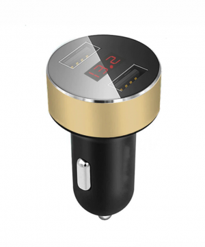 Nabíjací adaptér do zapaľovania s LED ukazovateľom napätia, 3.1A v zlatej farbe