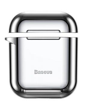 Ochranné púzdro BASEUS pre Apple Airpods v lesklej striebornej farbe.