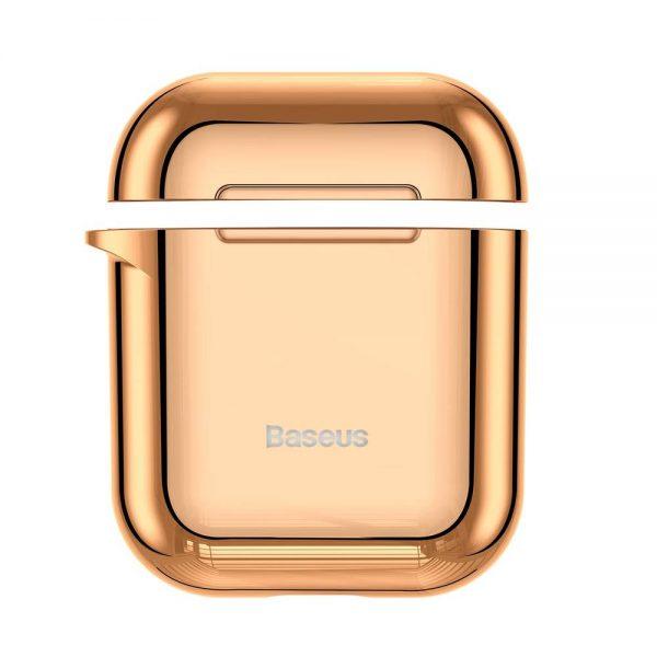 Ochranné púzdro BASEUS pre Apple Airpods v lesklej zlatej farbe-