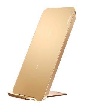 QI bezdrôtová nabíjačka BASEUS na smartfóny v zlatej farbe.