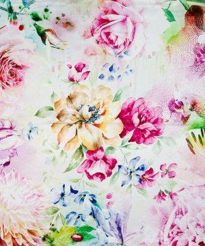 Hodvábna šatka zo 100% hodvábu s farebnými kvetinami