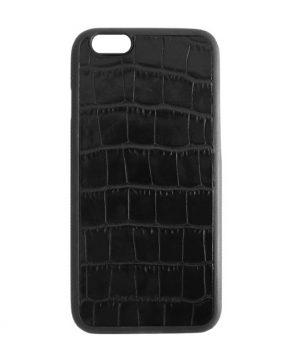 Luxusný kožený kryt pre iPhone 6/6s v štýle krokodíla v čiernej farbe