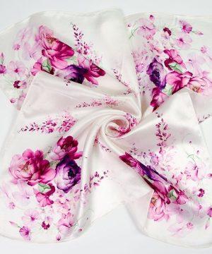 Luxusná šatka zo 100% hodvábu s ružovými kvetinami