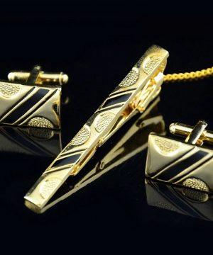 Luxusná kravatová súprava spony a gombíkov so zlato-čiernym vzorom