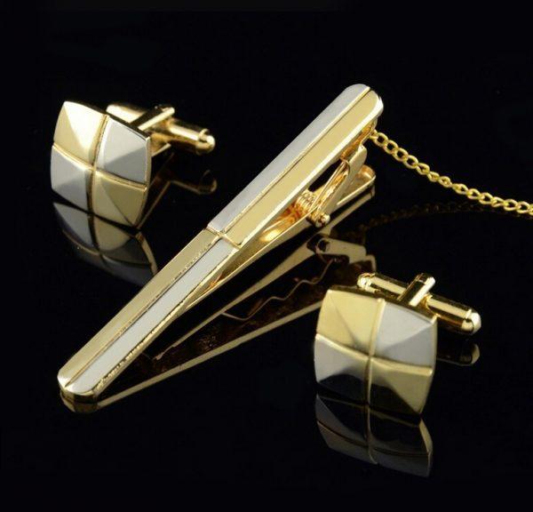 Luxusná kravatová súprava spony a gombíkov - zlato-strieborný kríž