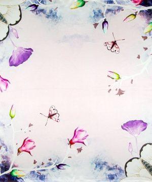 Prepracovaná šatka zo 100% hodvábu s motýľmi a kvetmi