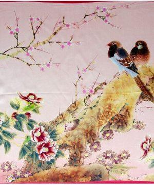 Prepracovaná šatka zo 100% hodvábu s vtáčikmi