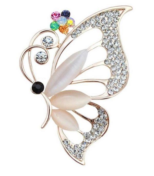 Prepracovaná brošňa z umelých opálov a kryštálov v motýľa