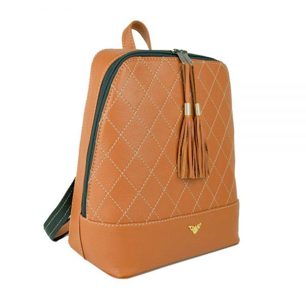 Štýlový dámsky kožený ruksak z prírodnej kože v tehlovej farbe