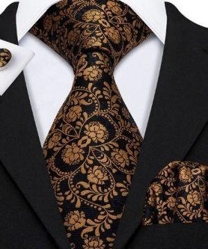 Kravatová pánska sada - kravata + manžety + vreckovka s medeným vzorom