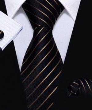 Kravatová pánska sada - kravata + manžety + vreckovka s medenými pásikmi