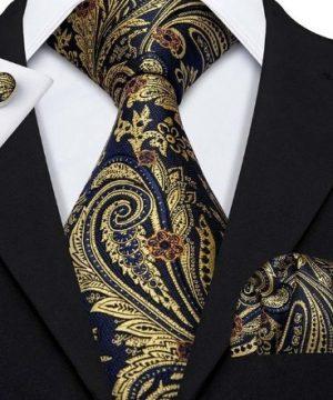 Kravatová pánska sada - kravata + manžety + vreckovka v zlato-modrej farbe