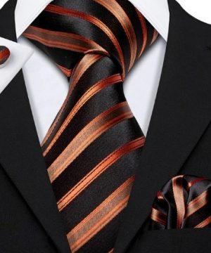 Pánska sada - kravata + manžety + vreckovka s luxusným medeným vzorom