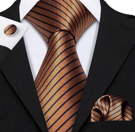 Pánska sada - kravata + manžety + vreckovka v medenej farbe s pásikmi