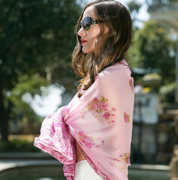 Luxusný dámsky šál zo 100% hodvábu s kvetinovým vzorom, 245 x 110 cm