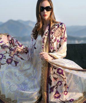 Luxusný veľký šál zo 100% hodvábu so vzorom, formát 245 x 110 cm