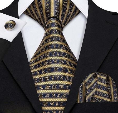 Pánska sada - kravata + manžety + vreckovka so zlatými hieroglyflmi