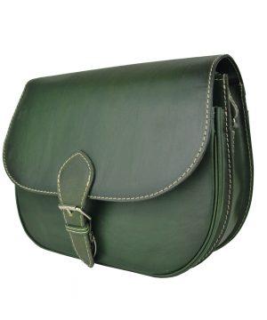 Luxusná kožená kabelka tmavo zelená, ručne tieňovaná, vyťahovací zámok + pracka