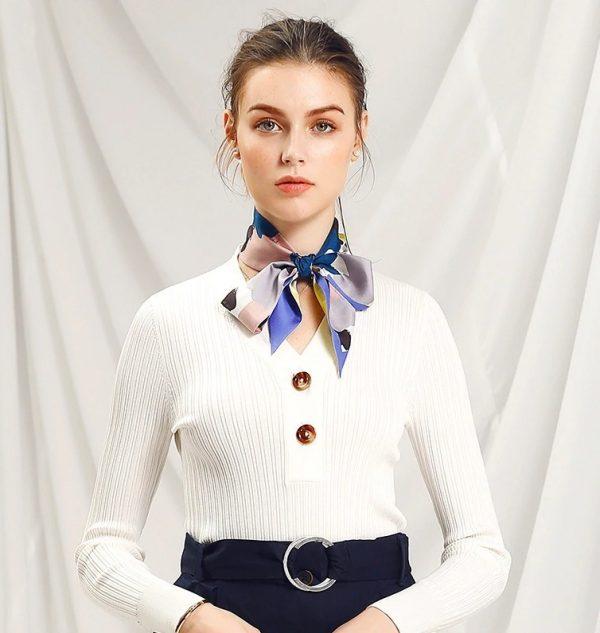 Malý hodvábny šál s elegantným obojstranným vzorom ABSTRACT - formát 116x6 cm