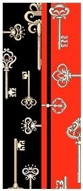 Malý hodvábny šál s elegantným obojstranným vzorom KEYS - formát 116x6 cm