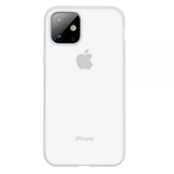 Ochranný silikónový obal pre iPhone 11 v transparentnej bielej farbe.
