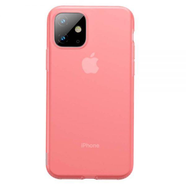 Ochranný silikónový obal pre iPhone 11 v transparentnej červenej farbe.