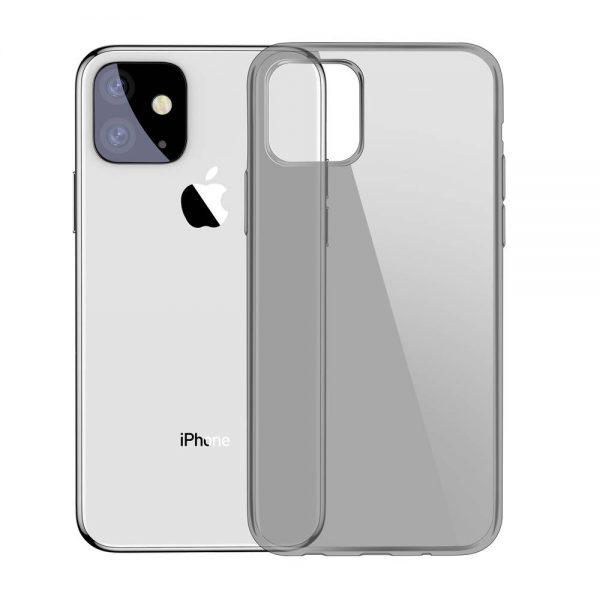 Ochranný silikónový obal pre iPhone 11 v transparentnej čiernej farbe