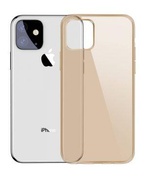 Ochranný silikónový obal pre iPhone 11 v transparentnej zlatej farbe.