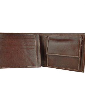 Praktická peňaženka z pravej kože č.8408 v tmavo hnedej farbe