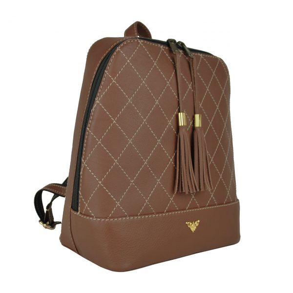 Luxusný dámsky kožený ruksak z prírodnej kože v tmavo hnedej farbe